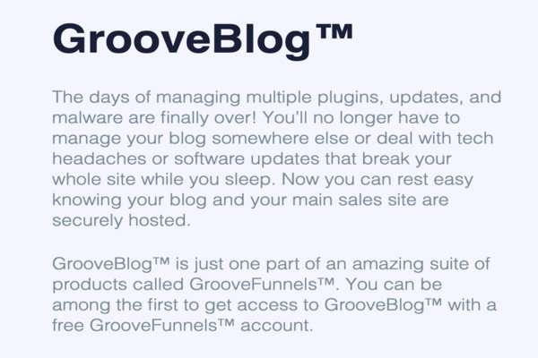 GrooveBlog Features