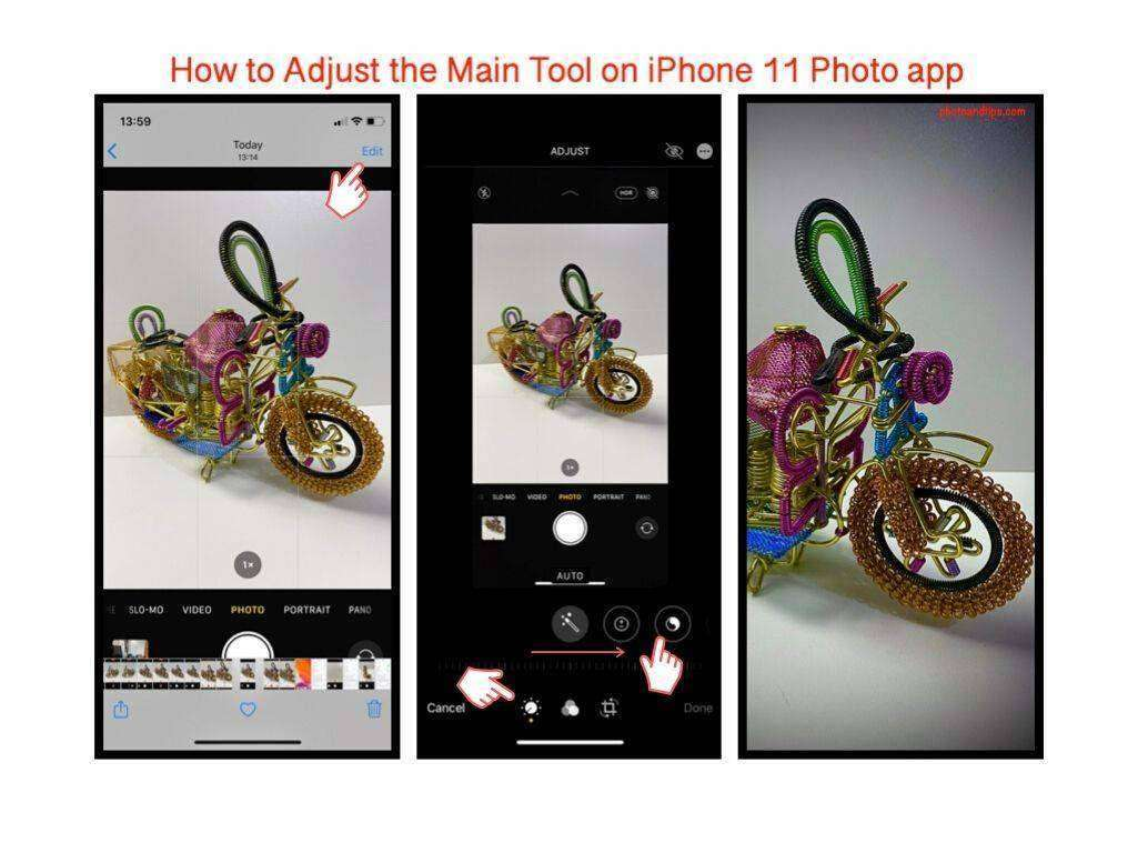 How to Adjust the Main Tool on iPhone 11 Photo app