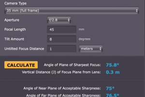 T/S Lens Depth of Field Calculator