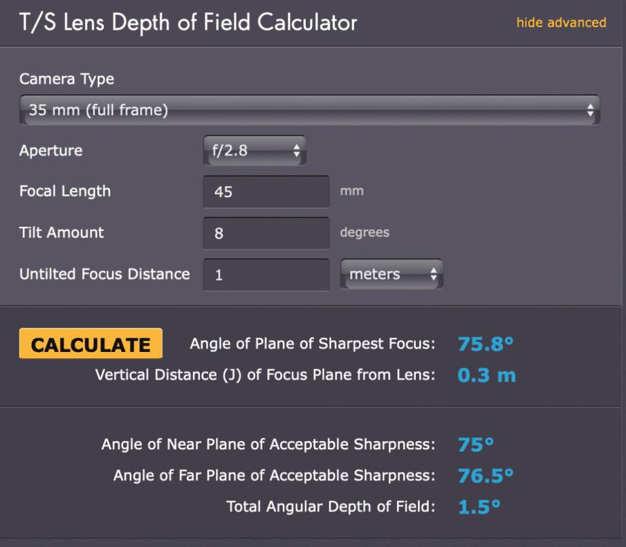 T/S Lens Depth of Field Calculator